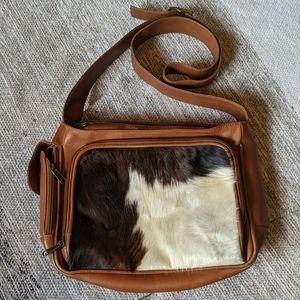Vintage cow hide brown leather bag